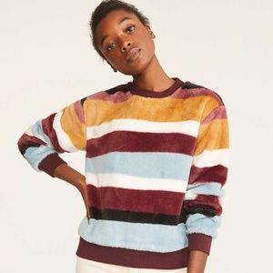 Lou & Grey Striped Faux Fur Sweatshirt M
